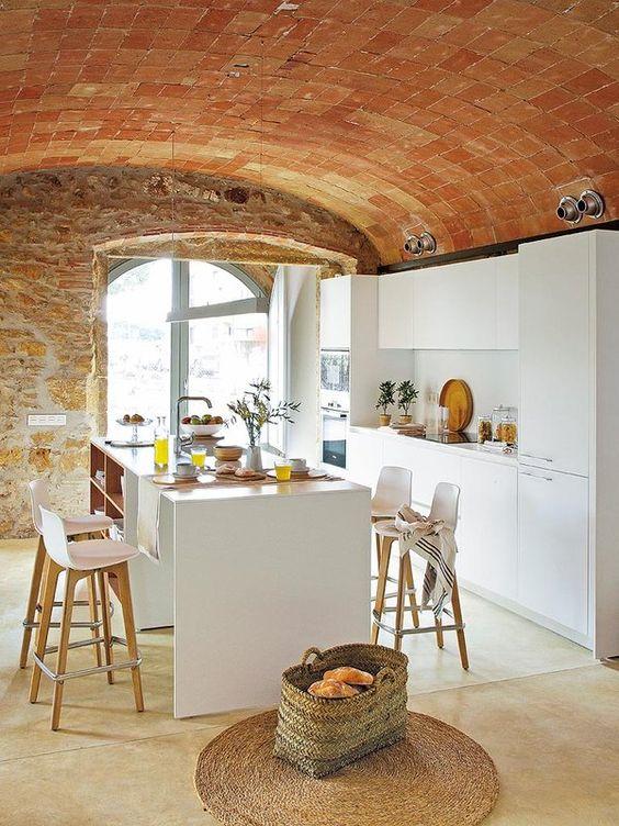 cocinas de ladrillo rustico Cocinas Modernas Y De Aires Rsticos Con Paredes De Piedra